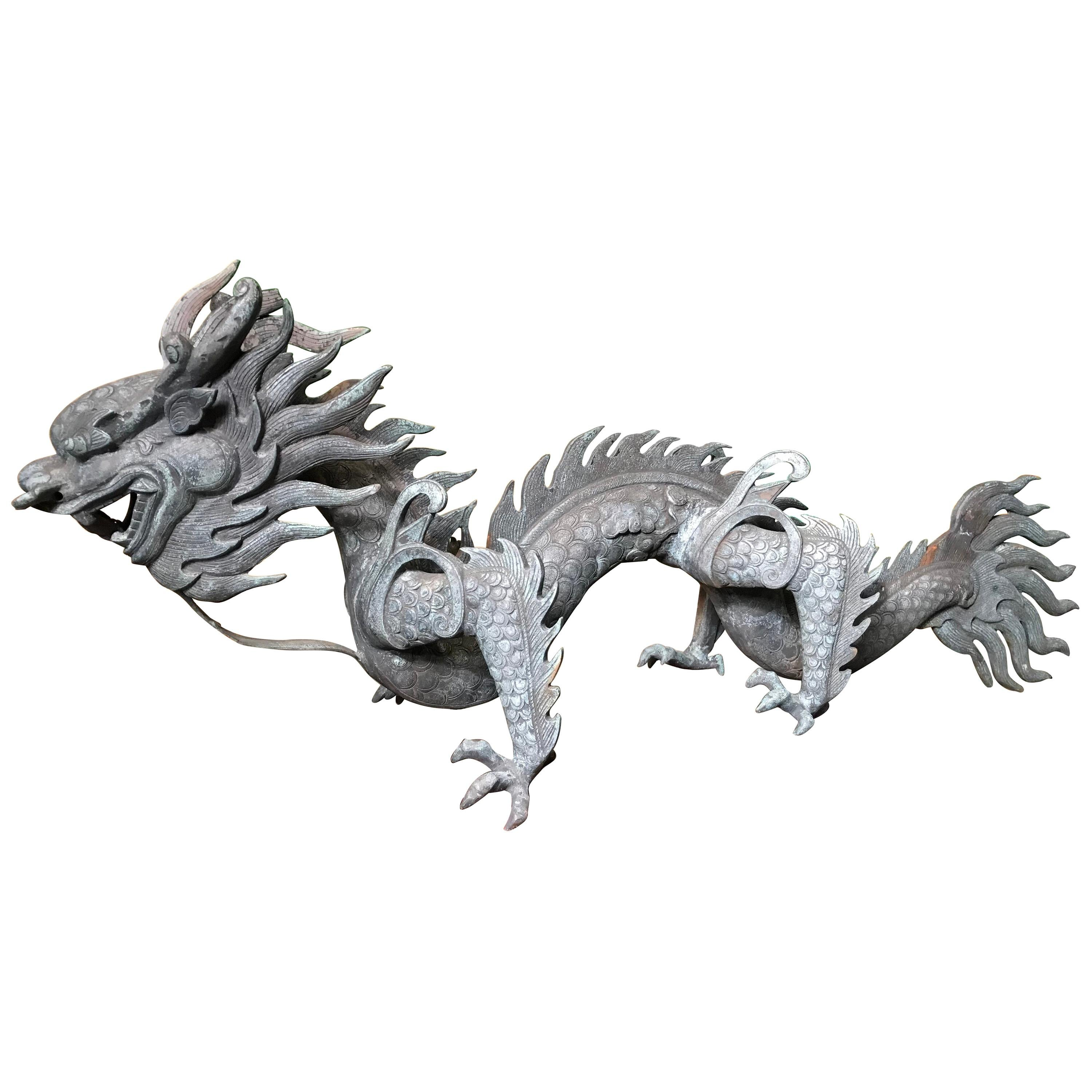 Chinese Fine Antique Bronze Dragon, Qing Dynasty