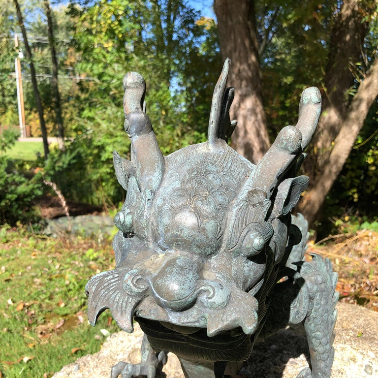 Chinese Fine Huge Antique Bronze Dragon, Qing Dynasty For Sale 6