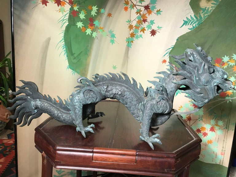 Chinese Fine Huge Antique Bronze Dragon, Qing Dynasty For Sale 8
