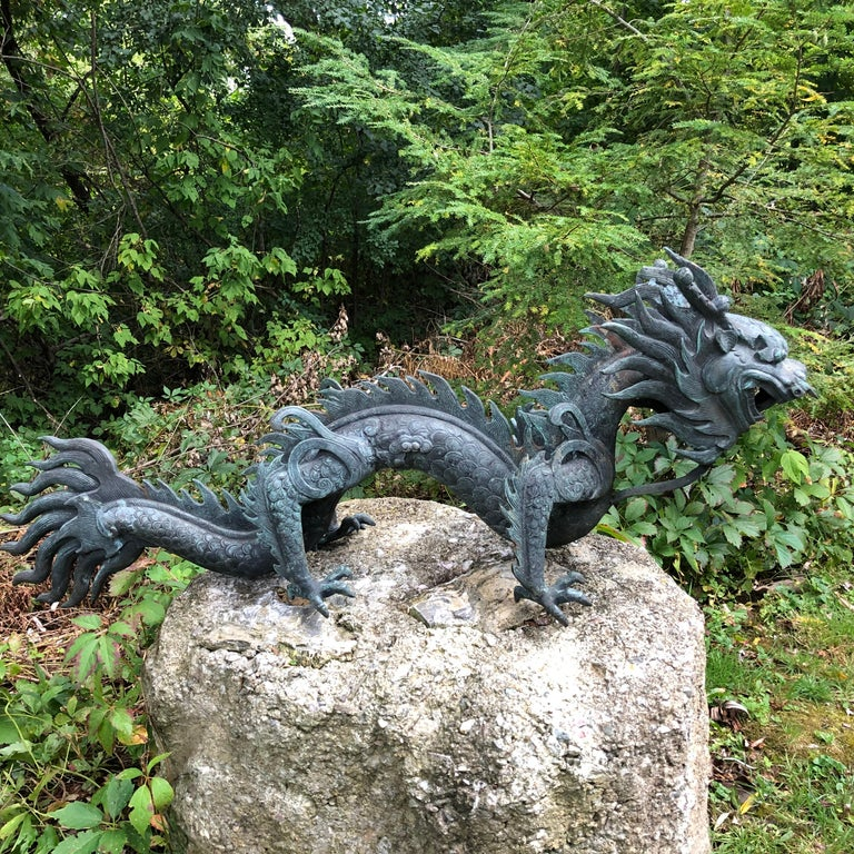 Cast Chinese Fine Huge Antique Bronze Dragon, Qing Dynasty For Sale