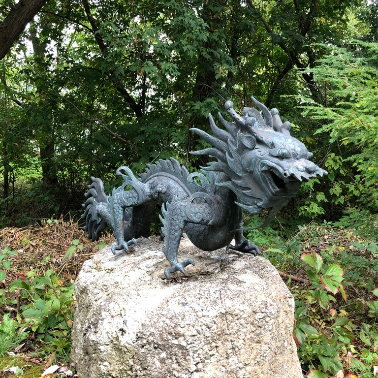Chinese Fine Huge Antique Bronze Dragon, Qing Dynasty In Good Condition For Sale In Shelburne, VT