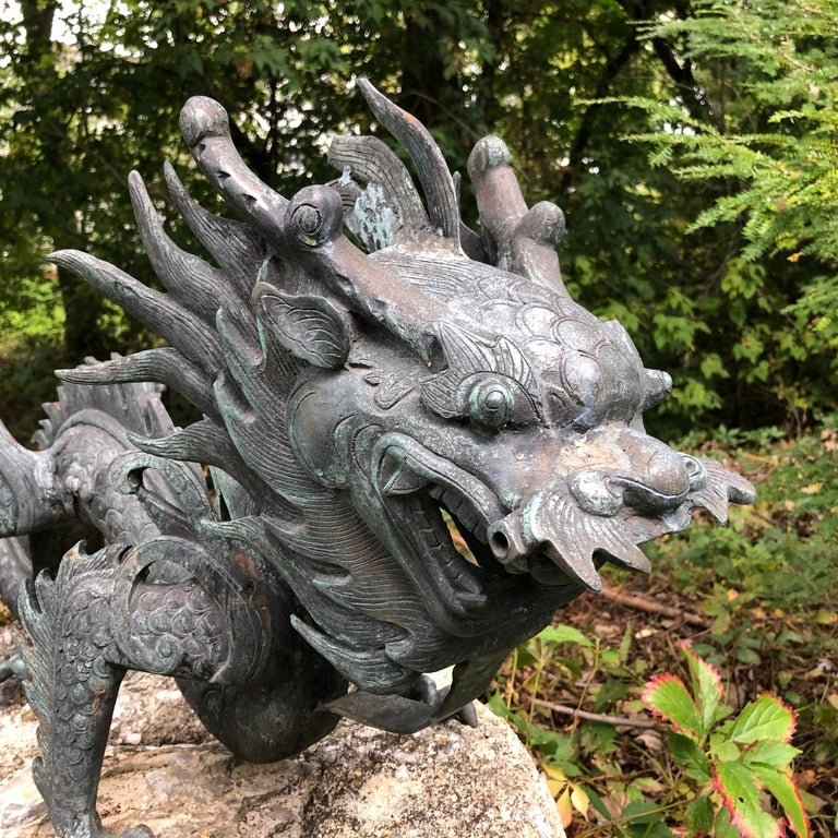 20th Century Chinese Fine Huge Antique Bronze Dragon, Qing Dynasty For Sale