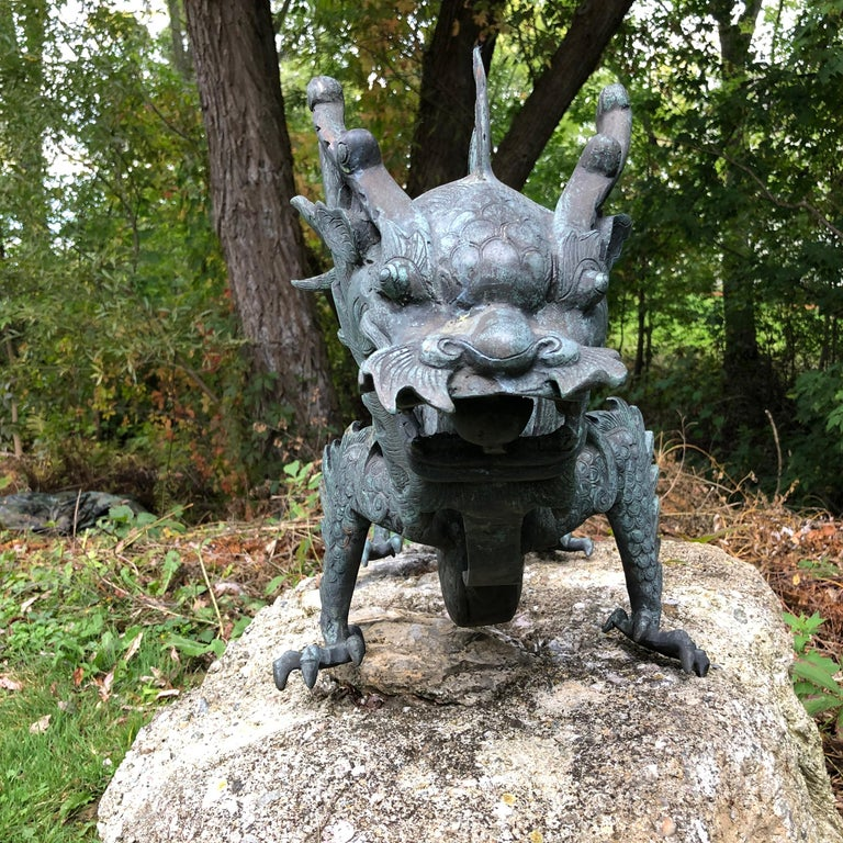 Chinese Fine Huge Antique Bronze Dragon, Qing Dynasty For Sale 1