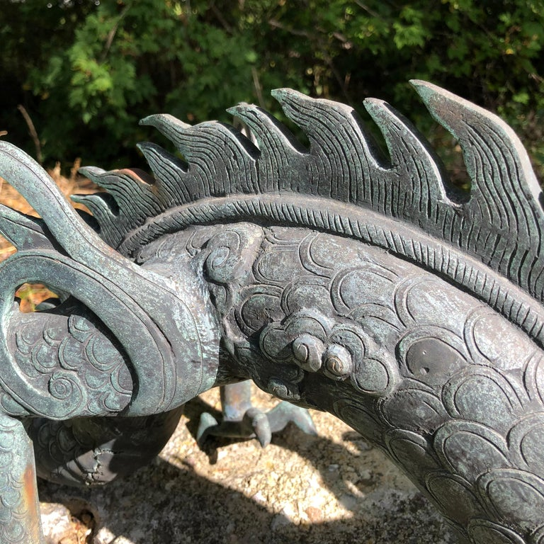 Chinese Fine Huge Antique Bronze Dragon, Qing Dynasty For Sale 3