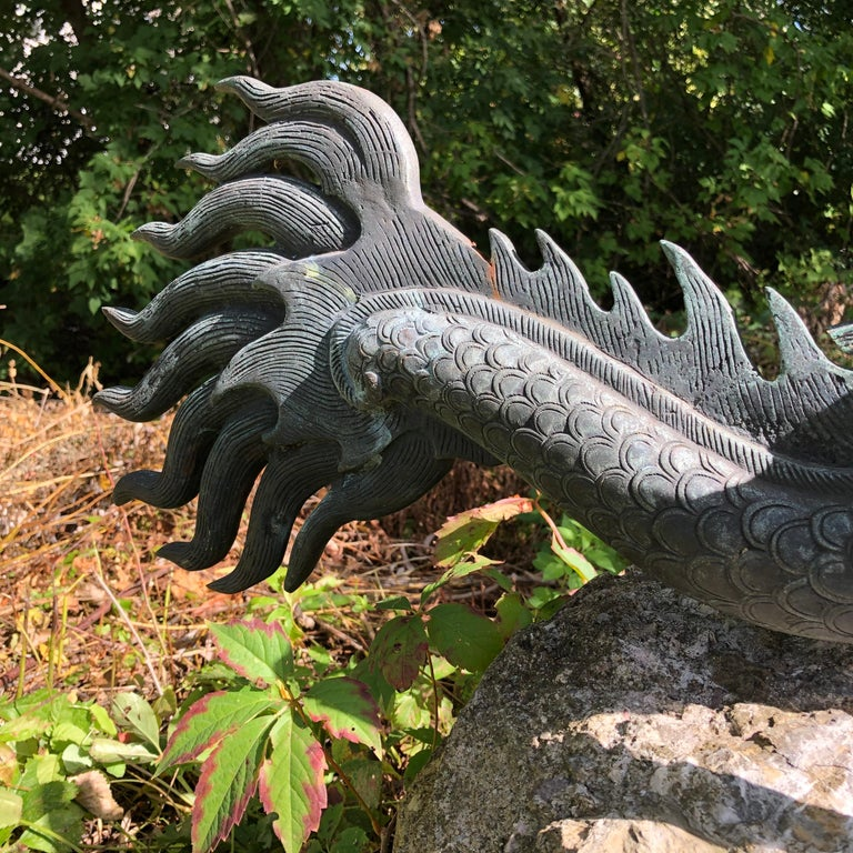 Chinese Fine Huge Antique Bronze Dragon, Qing Dynasty For Sale 4