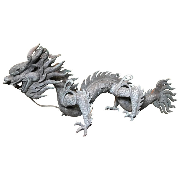 Chinese Fine Huge Antique Bronze Dragon, Qing Dynasty For Sale