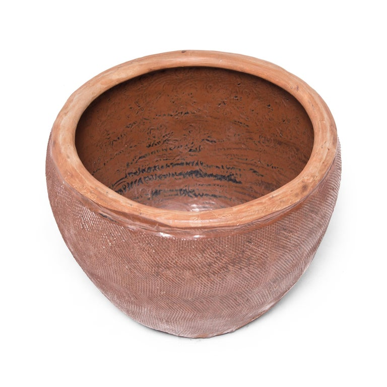 Qing Chinese Incised Terracotta Grain Jar For Sale