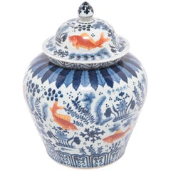 Chinese Indigo and Copper Underglaze Fish Jar