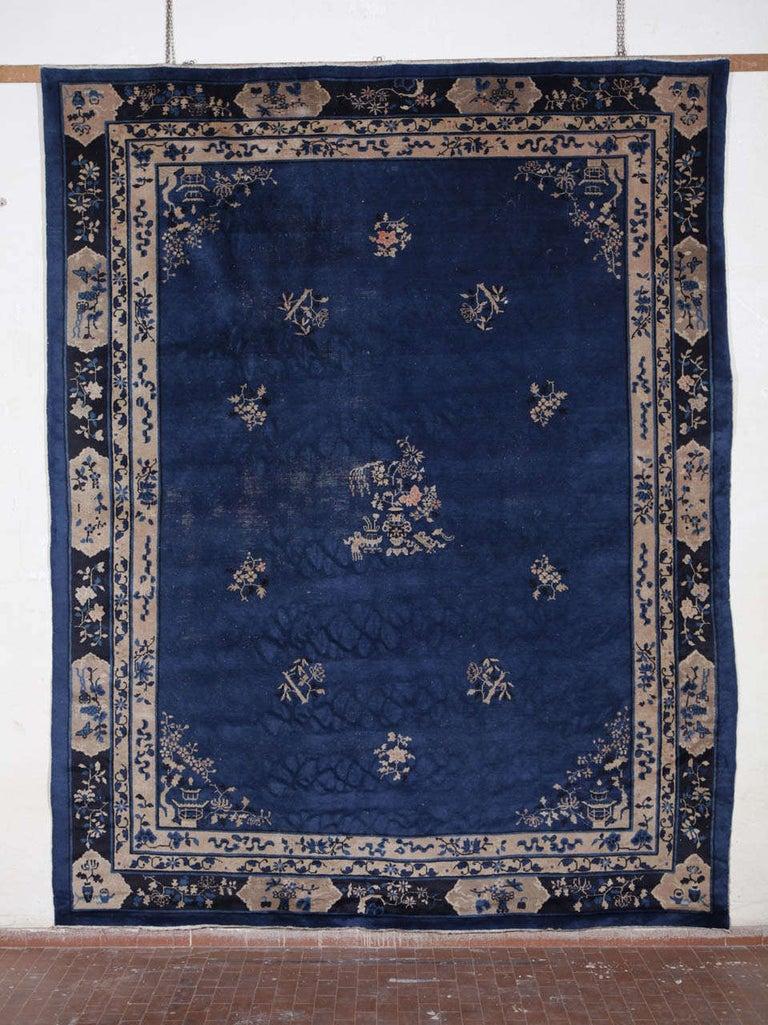 A fine early 20th century Indigo blue peking rug. Measures: cm 350 x 280.