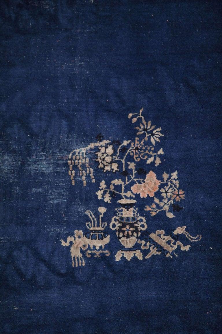 Chinoiserie Chinese Indigo Blue Peking Rug, 1920 For Sale