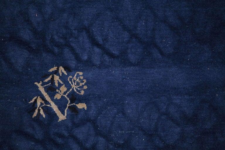 20th Century Chinese Indigo Blue Peking Rug, 1920 For Sale