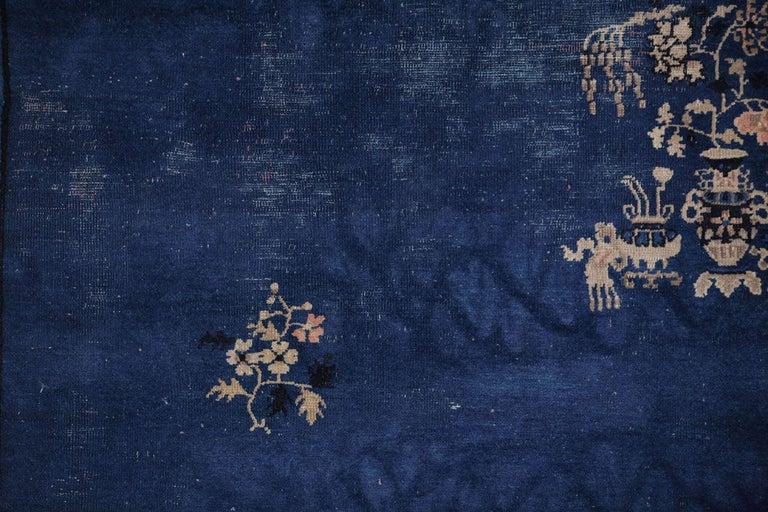Wool Chinese Indigo Blue Peking Rug, 1920 For Sale