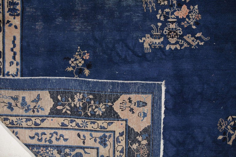 Chinese Indigo Blue Peking Rug, 1920 For Sale 1
