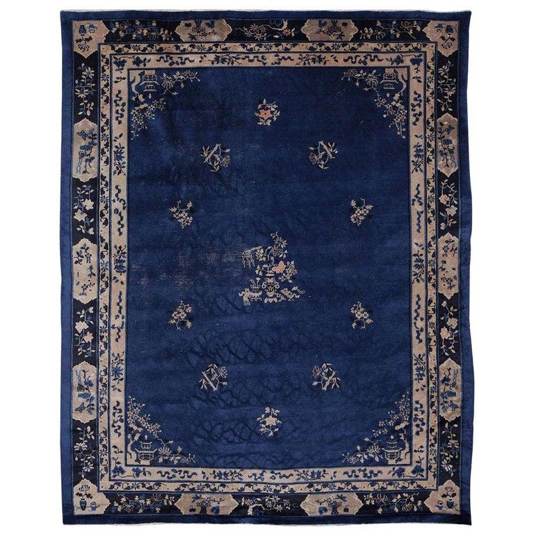 Chinese Indigo Blue Peking Rug, 1920 For Sale