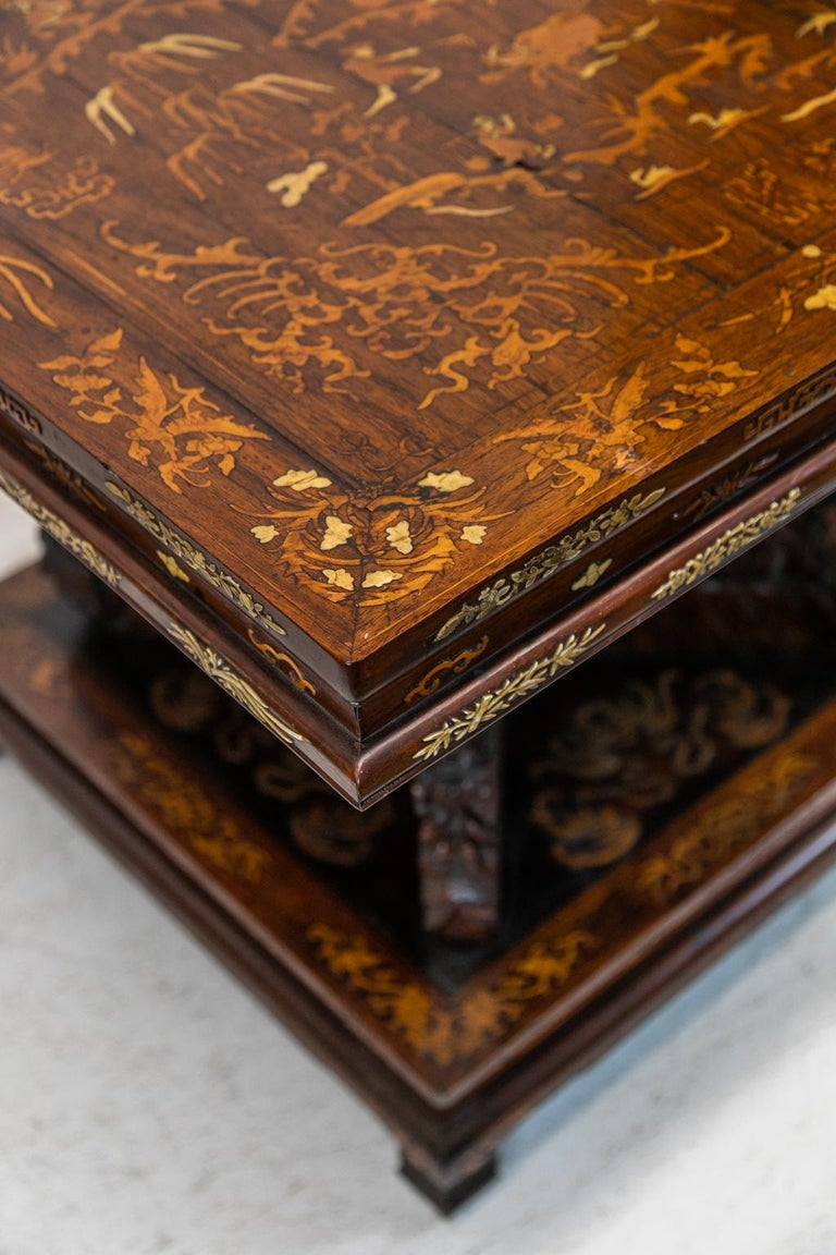 Mid-19th Century Chinese Inlaid Center Table For Sale