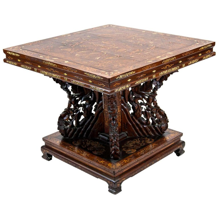 Chinese Inlaid Center Table For Sale