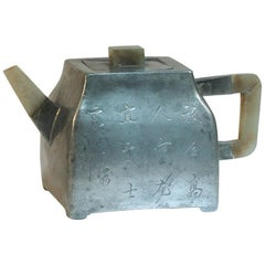 Chinese Inscribed Pewter Encased Yixing Stoneware Teapot, Qing Dynasty