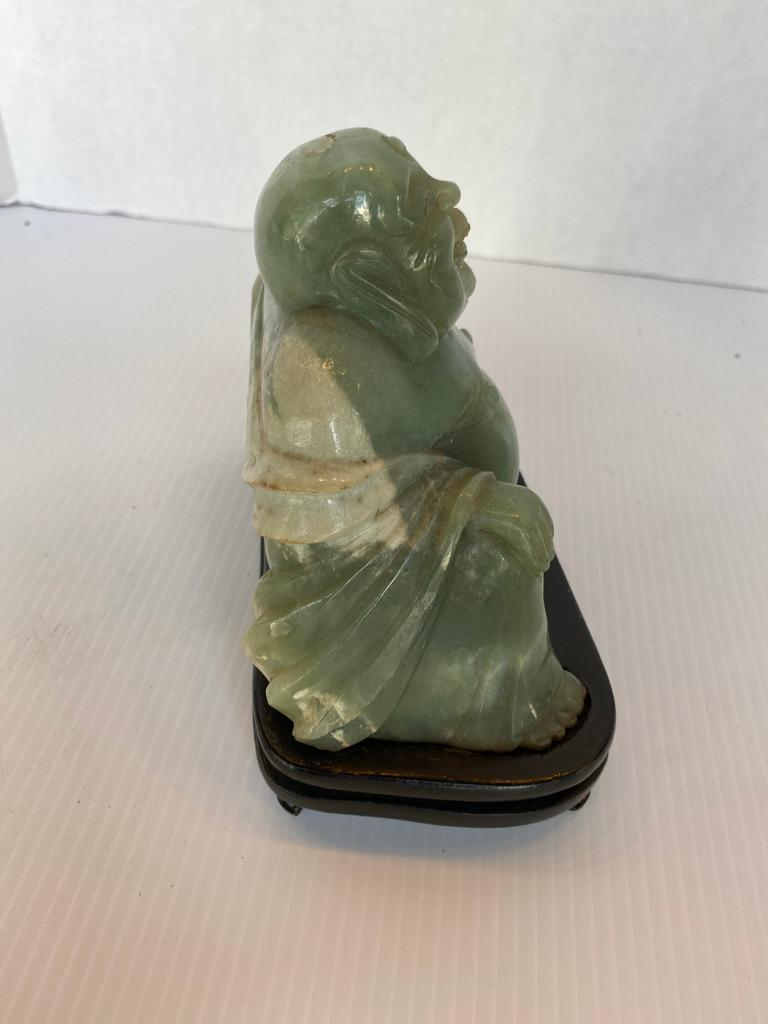 Chinese Export Chinese Jade Buddha on Stand For Sale