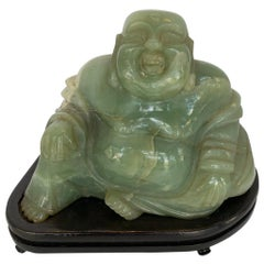 Chinese Jade Buddha on Stand