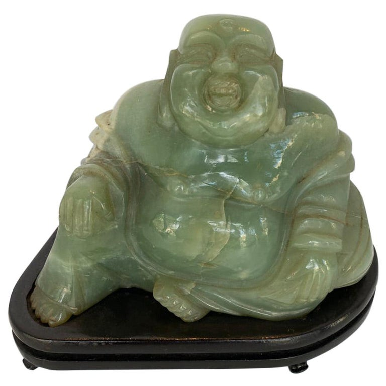Chinese Jade Buddha on Stand For Sale