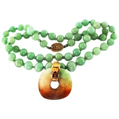 Chinese Jade Disk and Bead Necklace 14 Karat Yellow Gold