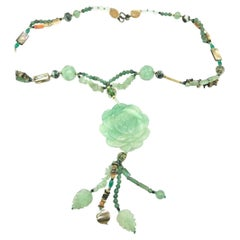 Chinese Jade Floral, Bead Necklace