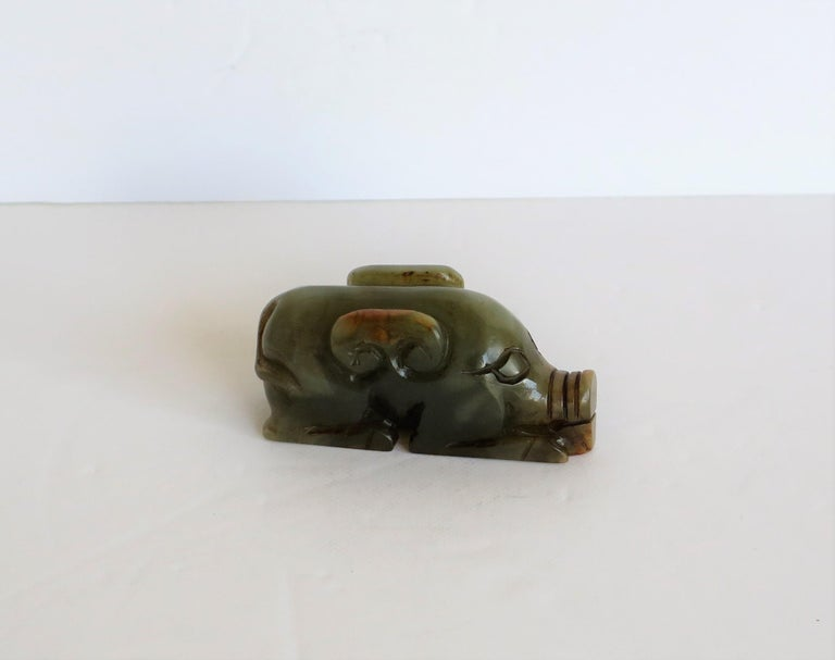 Chinese Jade Hand Carved Pig Talisman Celadon Green and Russet, 19th Century For Sale 8