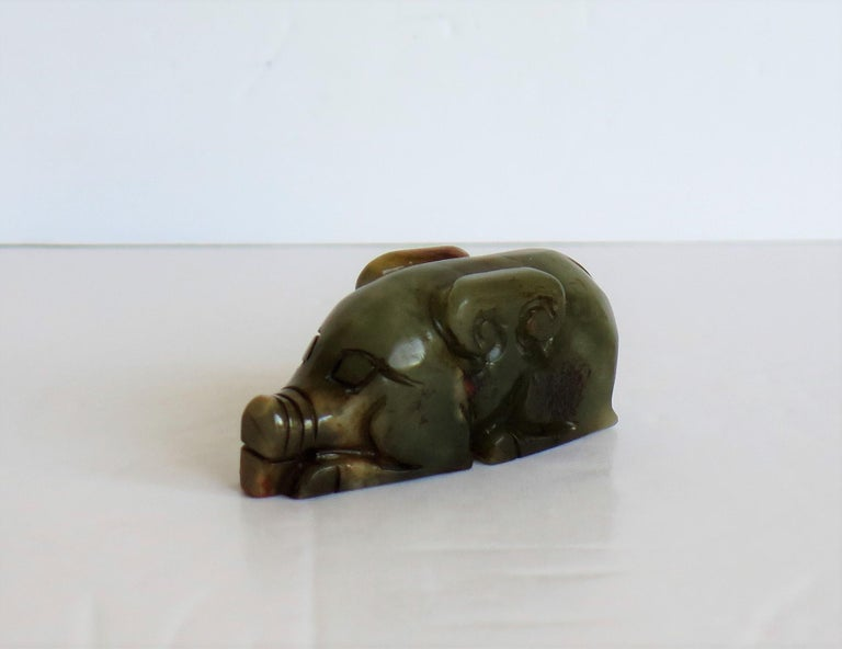 Qing Chinese Jade Hand Carved Pig Talisman Celadon Green and Russet, 19th Century For Sale