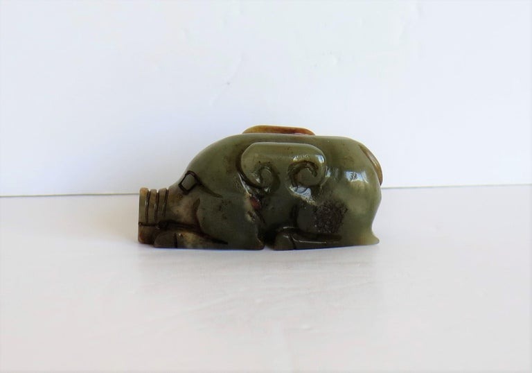 Hand-Carved Chinese Jade Hand Carved Pig Talisman Celadon Green and Russet, 19th Century For Sale