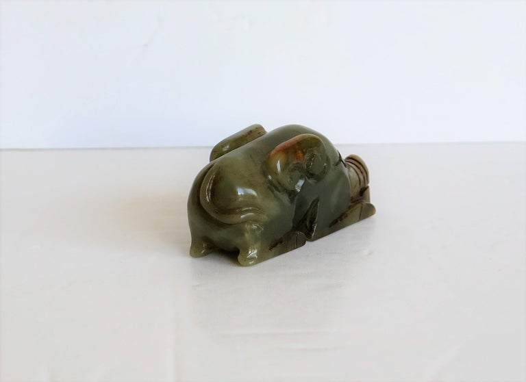 Chinese Jade Hand Carved Pig Talisman Celadon Green and Russet, 19th Century For Sale 1