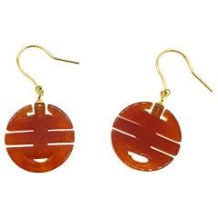 Chinese, Jade Orange 14 Karat Yellow Gold Earrings