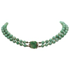 Chinese Jadeite and Gold Necklace, circa 1940s