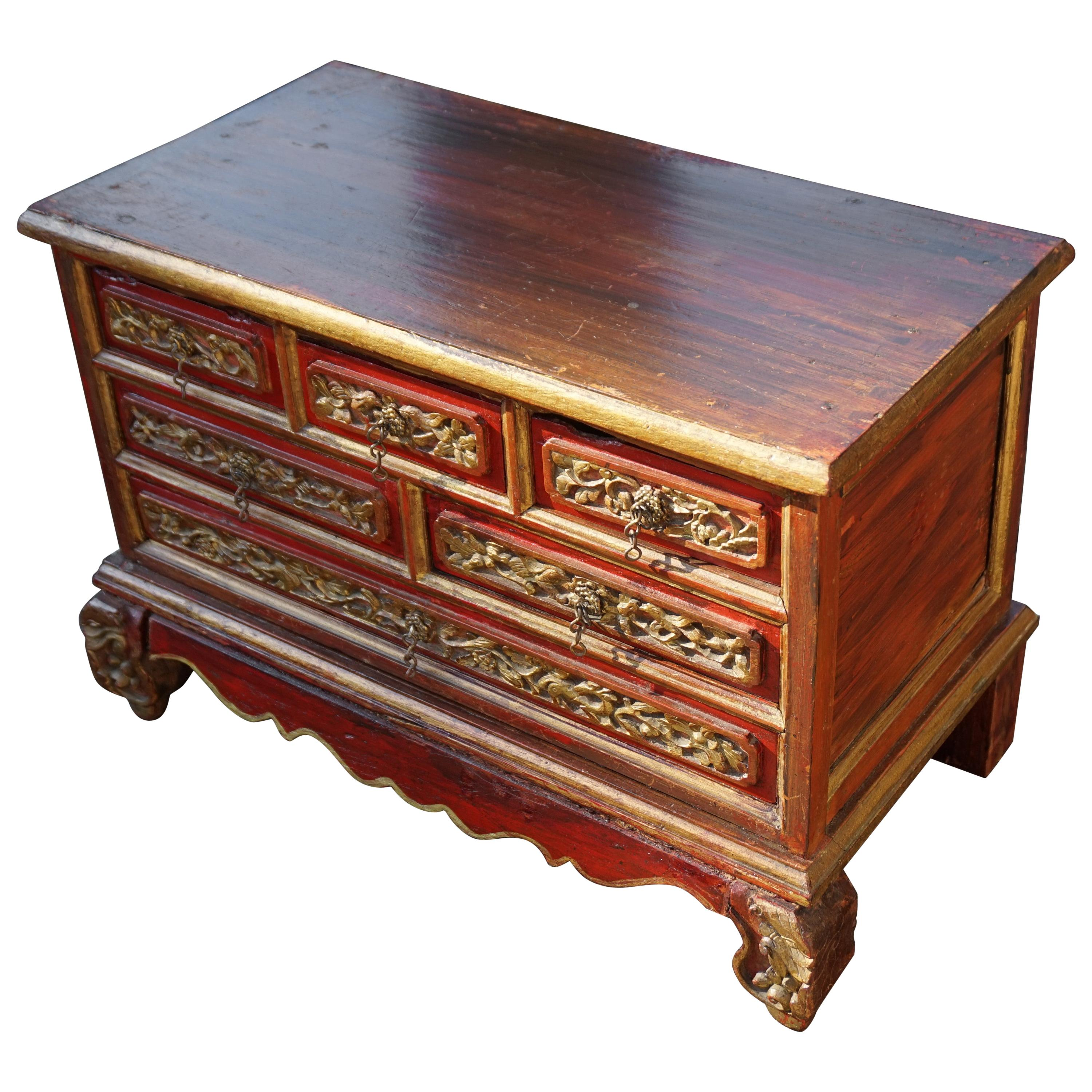 Chinese Jewelry Box with Drawers with Hand Carved Bird and Dragon Sculptures