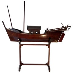 Chinese  Junk / Ship Model On Stand, Early 20th Century