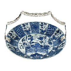 Chinese Kangxi Blue and White Kraak Porcelain Plate with Silver Bracket, 1700