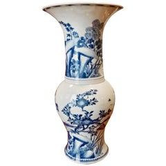 Chinese Kangxi Blue and White Yen Yen Vase