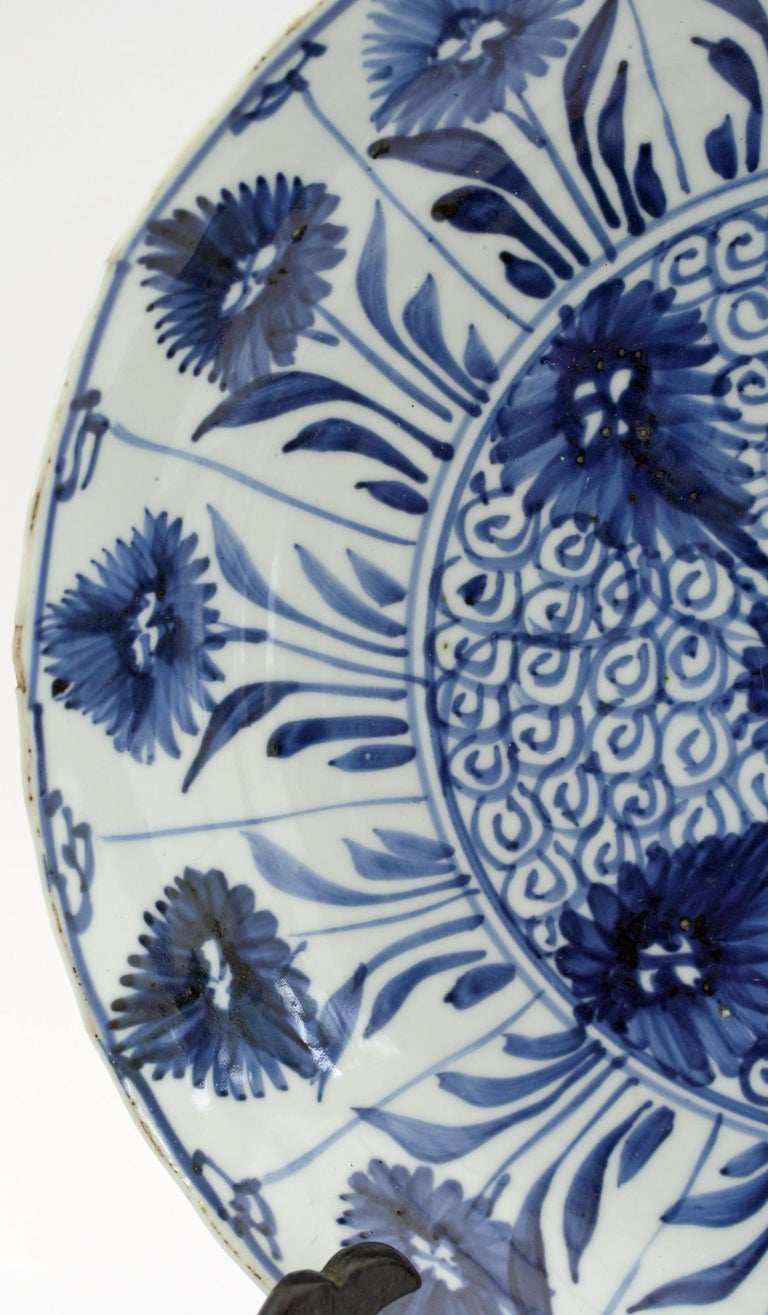 Hand-Painted Chinese Kangxi Large and Rare Porcelain Blue and White Aster Pattern Dish For Sale