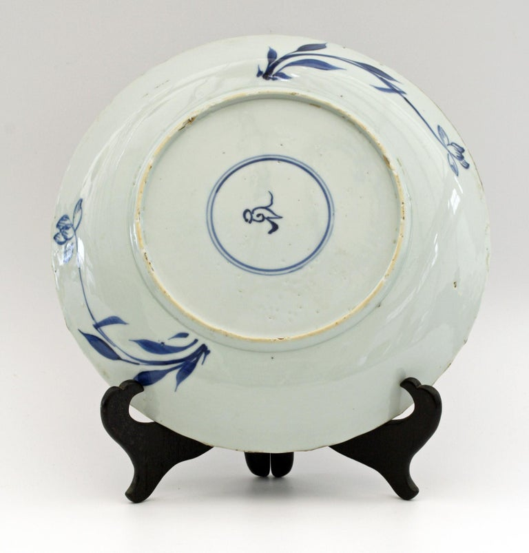 Chinese Kangxi Large and Rare Porcelain Blue and White Aster Pattern Dish In Good Condition For Sale In Bishop's Stortford, Hertfordshire