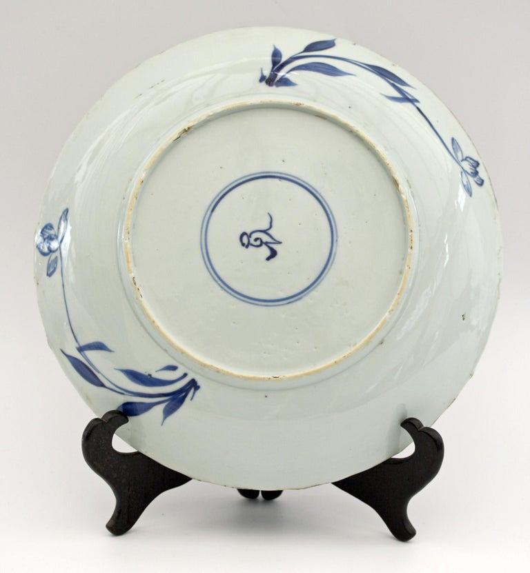 18th Century and Earlier Chinese Kangxi Large and Rare Porcelain Blue and White Aster Pattern Dish For Sale
