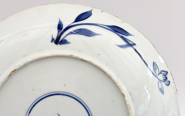 Chinese Kangxi Large and Rare Porcelain Blue and White Aster Pattern Dish For Sale 1