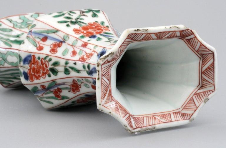 Qing Chinese Kangxi Octagonal Famille Verte Floral Painted Porcelain Vase For Sale