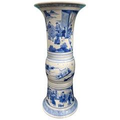 Chinese Kangxi Style Blue and White Chinoiserie Gu Form Beaker Porcelain Vase