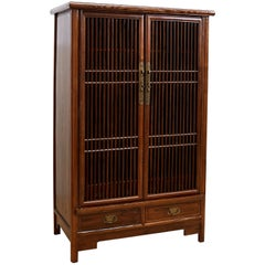 Chinese Kitchen Cabinet with Geometric Lattice Doors