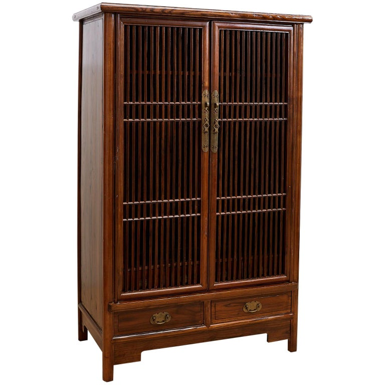 Chinese Kitchen Cabinet With Geometric Lattice Doors For