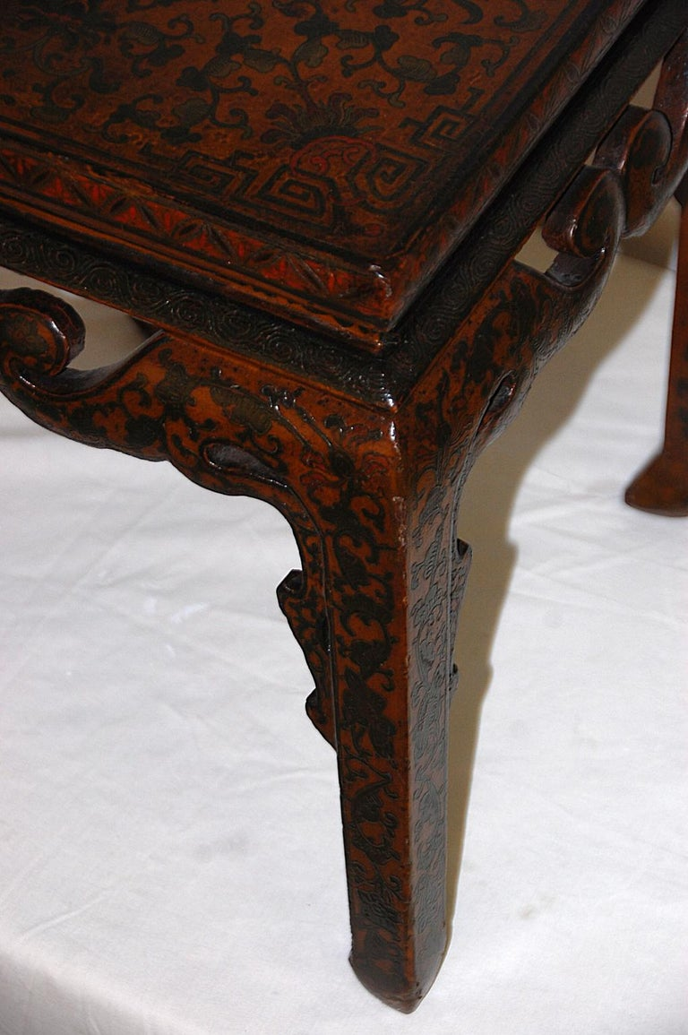 Hand-Painted Chinese Kuang Hsu Period Lacquered Hand Painted Square Waisted Stool For Sale