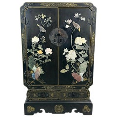 Chinese Lacquer and Hardstone Bar Cabinet