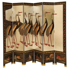 Chinese Lacquer and Silver Leaf Six-Panel Folding Screen
