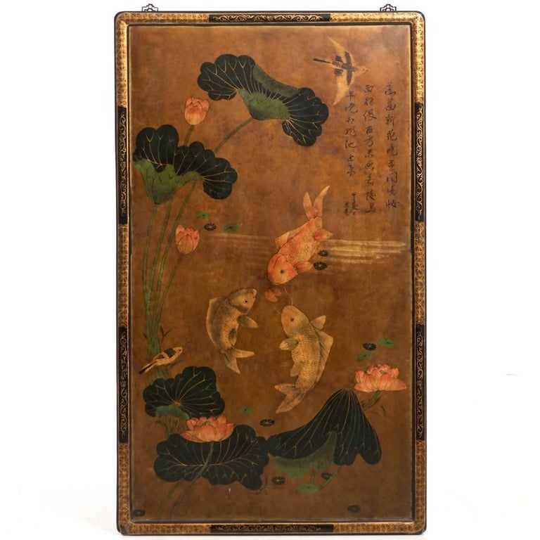 Chinese Lacquer Screen, Signed, Late 19th Century For Sale