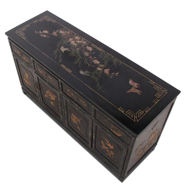 Boxwood Chinese Lacquer Side Cabinet For Sale