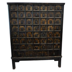 Chinese Lacquered and Gilded Spice Cabinet, circa 1900